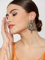 Dual-Toned Peacock Inspired Floral Pattern Drop Earrings