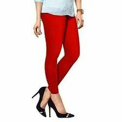 95%cotton + 5%lycra Straight Fit Ladies Plain Cotton Leggings, Size: Free Size