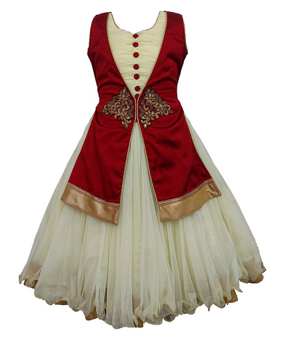 Girls Traditional Gown With Removable Jacket, Bachchon Ka Gown ...