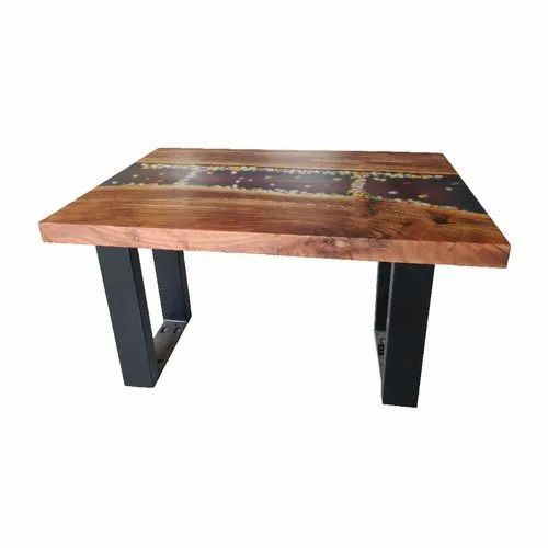Rectangular Wooden Epoxy Resin Coffee Table Size 2x3 Feet Rs