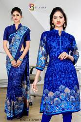 Blue Silk Georgette Uniform Saree Kurti Combo