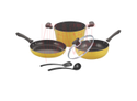 Polished Aluminium Cookware Set - 6 Pcs . Dark Rock