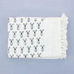 White Base Block Print Cotton Throws