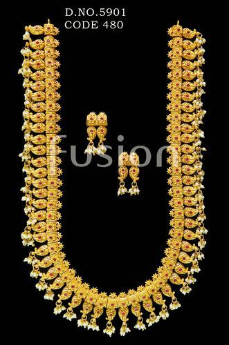 a87ad619fd4cc Traditional Ruby Emerald South Indian Long Necklace Set