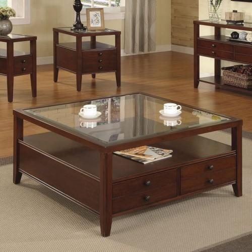Wooden And Glass Square Center Table With Storage Drawer ...