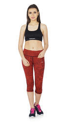 Red, Green Plain Maxxport Psych Capri 172020B