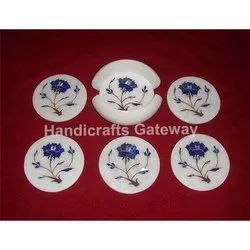 Makrana Marble Inlaid Tea Coaster Set