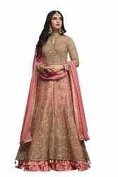 Soft silk Anarkali ladies party wear suit, Dry clean