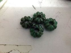 Natural Emerald Big Hole Carved Melon Beads