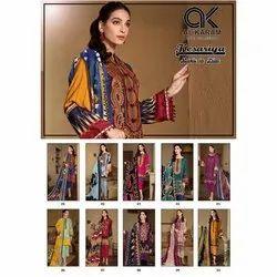 Straight Unstitched Al Karam Cotton Dress Material, Dry clean