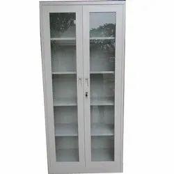 SSP Mild Steel Glass Door Cupboard, For Office, Gray