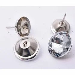 White Glass, Stainless Steel Sofa Diamond Button, Packaging Type: Packet