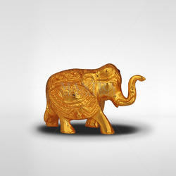 Brass Golden Gold Plated Elephant Idol, for Promotional Use