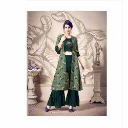Ladies Green Printed Sharara Suit, Packaging Type: Box, Size: Medium