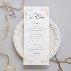 White Wedding Menu Card, Size: 8 X 4 Inch