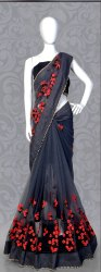 Designer Heavy Embroidery Work Net  Saree