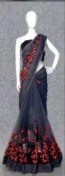 Designer Heavy Embroidery Work Net Saree