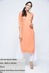 Orange Solid Rayon Kurta Palazzo Set