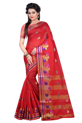f7a66b023e Red Green Blue Rani Real Zari Gold Cotton Silk Saree With Zari Border  Flower Work