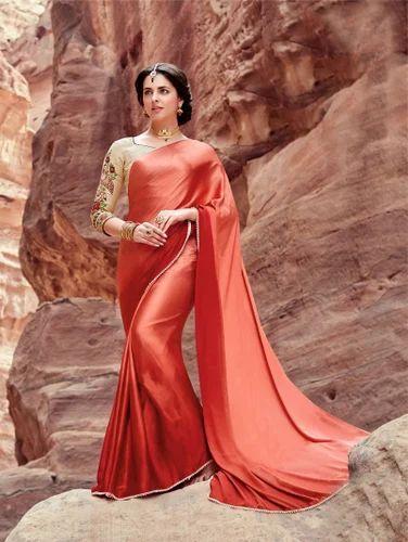 554b74ee16 Silk Plain Sanskar Satin Saree, With Blouse Piece, Rs 890 /piece ...