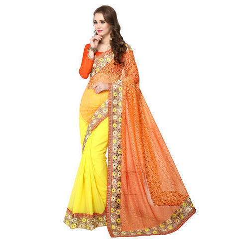 85118a4707 Yellow And Orange Party Wear Ladies Fancy Saree, Rs 840 /piece | ID ...