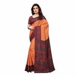 Peach Colored  Poly Silk Printed Casual Saree
