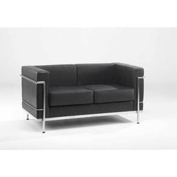 Black 2 Seater Office Sofa