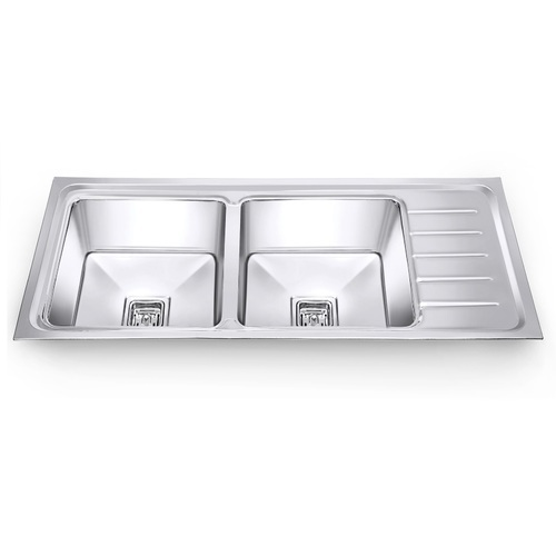 idoos stainless steel double bowl kitchen sink with drainboard, rs