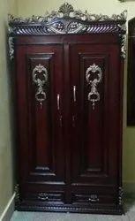Dark Brown Double Door Wardrobe, For Home