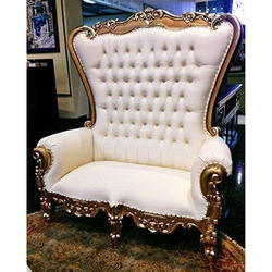 White Designer Wooden High Back Chair, Size: 65 x 66 x 25 inch