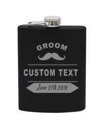 Personalized Stainless Steel Hip Flask -Black