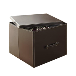 Handmade Brown Leatherite storage Box, Box Capacity: 6-10 Kg, 22x18x14 Inch