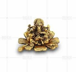 Gold Plated Flower Ganpati Idol