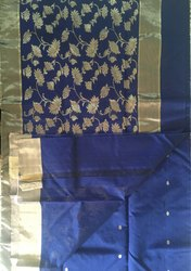 Ladies Chanderi Silk Saree with Blouse Piece, Length: 6.3 m
