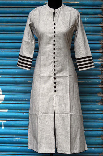 Medium And Large Cotton Ladies Grey Kurti