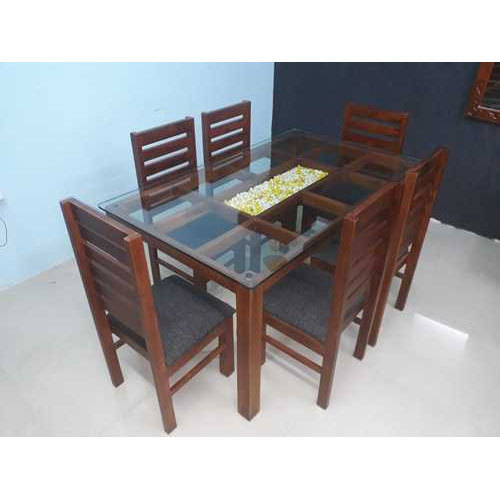 Glass Top Dining Table Set At Rs 38000 Set Wooden Dining Room Set