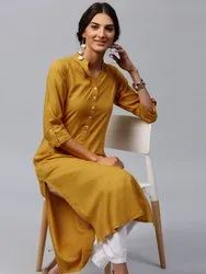 Casual Wear 3/4th Sleeve Straight Cut Rayon Kurti, Machine Wash
