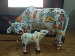 Resin Cow Calf Statue