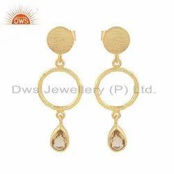 Designer Gold Plated Silver Citrine Gemstone Earring
