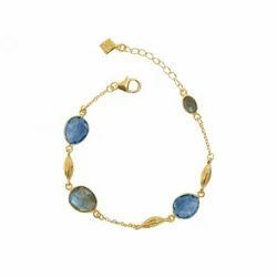 Natural Labradorite & Tanzaite Quartz Cool Hand Bracelet Micron Gold Plated Jewelry