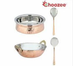 Choozee - Copper/Steel Serving Item Set of 4 Pcs (Including Kadhai, Handi and Serving Spoons)