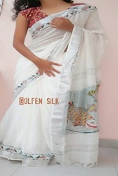 White Hand Painted Sarees, Length: 6.3 m