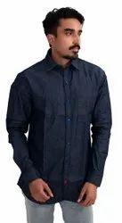 Plain Full Sleeves Denim Shirt, Size: Medium