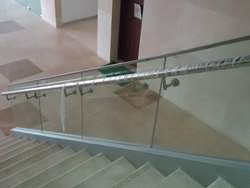 SS stair handrail work with Glass