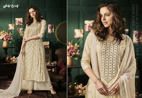 Cotton Embroidered Palazzo Style Salwar Kameez