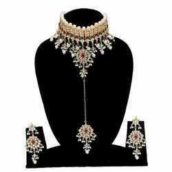 Partywear Red Color Necklace Maang Tikka Earrings Set