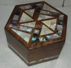Hexadic Mother of Pearl and Wooden Box