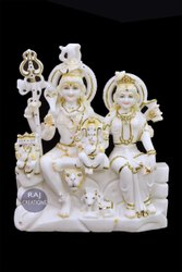 Raj Creations Marble Shiv Parvati Statue