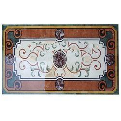 White Marble Table Top Precious Stone Inlay Work
