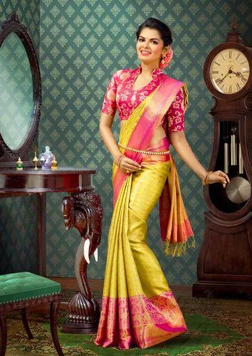 Wedding Wear Bridal Mustard Color And Pink Silk Saree